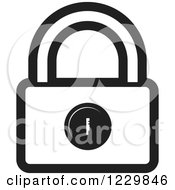 Clipart Of A Black And White Padlock Icon Royalty Free Vector Illustration by Lal Perera