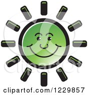 Clipart Of A Green Happy Sun Icon Royalty Free Vector Illustration by Lal Perera