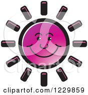Clipart Of A Purple Happy Sun Icon Royalty Free Vector Illustration by Lal Perera