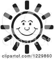 Clipart Of A Black And White Happy Sun Icon Royalty Free Vector Illustration by Lal Perera