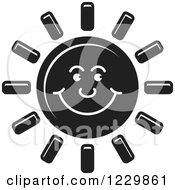 Clipart Of A Black Happy Sun Icon Royalty Free Vector Illustration by Lal Perera