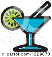 Clipart Of A Blue Cocktail Icon Royalty Free Vector Illustration