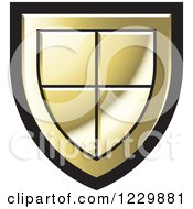 Clipart Of A Gold Shield Icon Royalty Free Vector Illustration by Lal Perera
