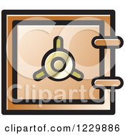 Clipart Of A Brown Safe Vault Icon Royalty Free Vector Illustration