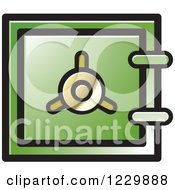 Clipart Of A Green Safe Vault Icon Royalty Free Vector Illustration