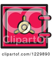 Clipart Of A Pink Safe Vault Icon Royalty Free Vector Illustration