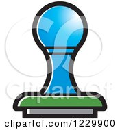Clipart Of A Blue Rubber Stamp Icon Royalty Free Vector Illustration by Lal Perera