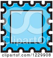 Clipart Of A Blue Postage Stamp Or Frame Icon Royalty Free Vector Illustration