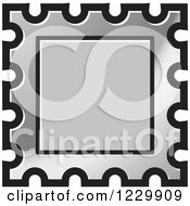 Clipart Of A Silver Postage Stamp Or Frame Icon Royalty Free Vector Illustration
