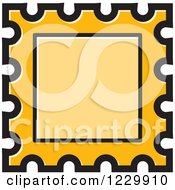 Clipart Of A Yellow Postage Stamp Or Frame Icon Royalty Free Vector Illustration