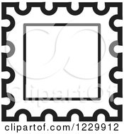 Clipart Of A Black And White Postage Stamp Or Frame Icon Royalty Free Vector Illustration