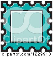 Clipart Of A Turquoise Postage Stamp Or Frame Icon Royalty Free Vector Illustration