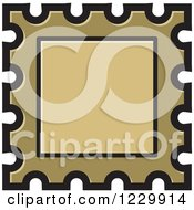 Clipart Of A Gold Postage Stamp Or Frame Icon Royalty Free Vector Illustration