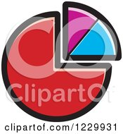 Clipart Of A Red Purple And Blue Pie Chart Icon Royalty Free Vector Illustration