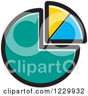 Clipart Of A Turquoise Yellow And Blue Pie Chart Icon Royalty Free Vector Illustration