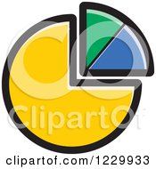 Clipart Of A Yellow Green And Blue Pie Chart Icon Royalty Free Vector Illustration