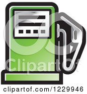 Clipart Of A Green Gas Pump Icon Royalty Free Vector Illustration by Lal Perera
