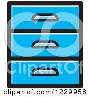 Clipart Of A Blue Set Of Drawers Icon Royalty Free Vector Illustration