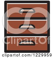 Clipart Of A Brown Set Of Drawers Icon Royalty Free Vector Illustration