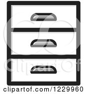 Clipart Of A Grayscale Set Of Drawers Icon Royalty Free Vector Illustration
