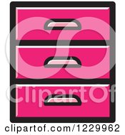 Clipart Of A Pink Set Of Drawers Icon Royalty Free Vector Illustration