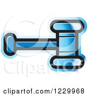 Clipart Of A Blue Gavel Or Hammer Icon Royalty Free Vector Illustration by Lal Perera