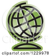 Clipart Of A Green Desk Globe Icon Royalty Free Vector Illustration