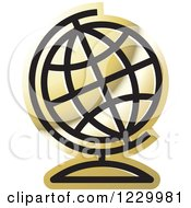 Clipart Of A Golden Desk Globe Icon Royalty Free Vector Illustration by Lal Perera
