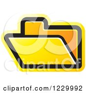 Clipart Of A Yellow File Folder Icon Royalty Free Vector Illustration