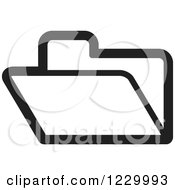 Clipart Of A Black And White File Folder Icon Royalty Free Vector Illustration by Lal Perera