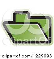 Clipart Of A Green File Folder Icon Royalty Free Vector Illustration by Lal Perera