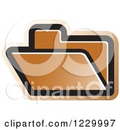 Clipart Of A Brown File Folder Icon Royalty Free Vector Illustration by Lal Perera
