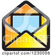 Clipart Of A Yellow Letter And Envelope Icon Royalty Free Vector Illustration by Lal Perera