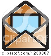 Clipart Of A Brown Letter And Envelope Icon Royalty Free Vector Illustration by Lal Perera