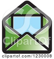 Clipart Of A Green Letter And Envelope Icon Royalty Free Vector Illustration by Lal Perera
