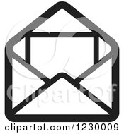 Clipart Of A Black And White Letter And Envelope Icon Royalty Free Vector Illustration by Lal Perera