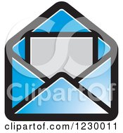 Clipart Of A Blue Letter And Envelope Icon Royalty Free Vector Illustration