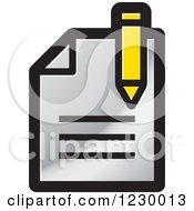 Clipart Of A Silver Enrollment Document Icon Royalty Free Vector Illustration