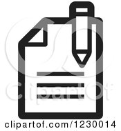 Clipart Of A Black And White Enrollment Document Icon Royalty Free Vector Illustration by Lal Perera