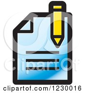Clipart Of A Blue Enrollment Document Icon Royalty Free Vector Illustration by Lal Perera