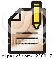 Clipart Of A Bronze Enrollment Document Icon Royalty Free Vector Illustration by Lal Perera
