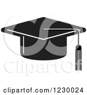 Clipart Of A Black Mortar Board Graduation Cap Icon Royalty Free Vector Illustration