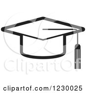 Clipart Of A Black And White Mortar Board Graduation Cap Icon Royalty Free Vector Illustration