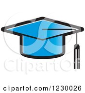 Clipart Of A Blue Mortar Board Graduation Cap Icon Royalty Free Vector Illustration by Lal Perera