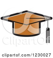 Clipart Of A Brown Mortar Board Graduation Cap Icon Royalty Free Vector Illustration