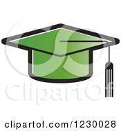 Clipart Of A Green Mortar Board Graduation Cap Icon Royalty Free Vector Illustration by Lal Perera