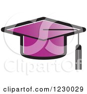 Clipart Of A Purple Mortar Board Graduation Cap Icon Royalty Free Vector Illustration by Lal Perera