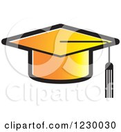 Clipart Of A Gradient Orange Mortar Board Graduation Cap Icon Royalty Free Vector Illustration