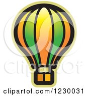 Clipart Of A Green And Orange Hot Air Balloon Icon Royalty Free Vector Illustration by Lal Perera