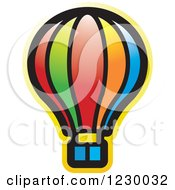 Clipart Of A Colorful Hot Air Balloon Icon Royalty Free Vector Illustration
